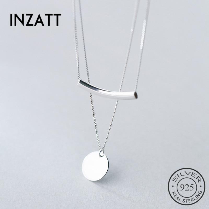 INZATT Real 925 Sterling Silver Personality Pendant Necklaces Minimalist Choker Fine Jewelry For Women Party Cute Innrech Market.com
