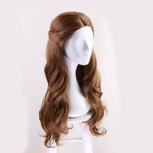 Image 4 - Beauty and the Beast Princess Belle wig Cosplay Costume Women Long Wavy Synthetic Hair Halloween Party Role Play wigs