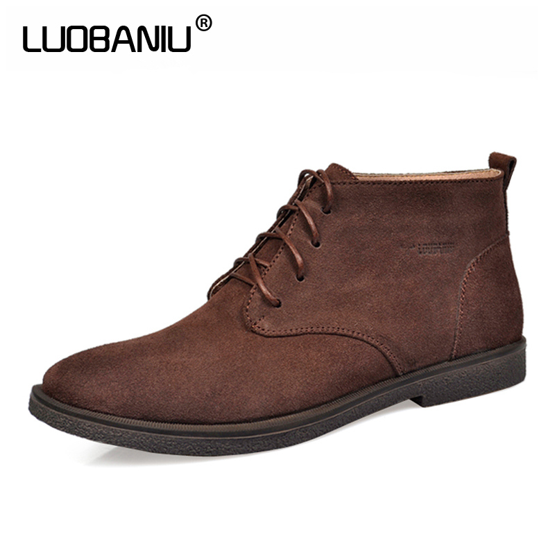LUOBANIU  Brand Men Shoes Size 37~47 Russian Style Men Boots Fur Handmade Men Winter Snow Boots Casual Fashion High-Cut Lace-up warmest genuine leather snow boots size 37 50 brand russian style men winter shoes 8815