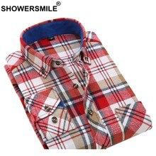 4413202b05 CHUVEIROS Homens Camisa Moda Camisa Xadrez de Algodão Grosso Estilo  Britânico Botão Manga Longa Para Baixo