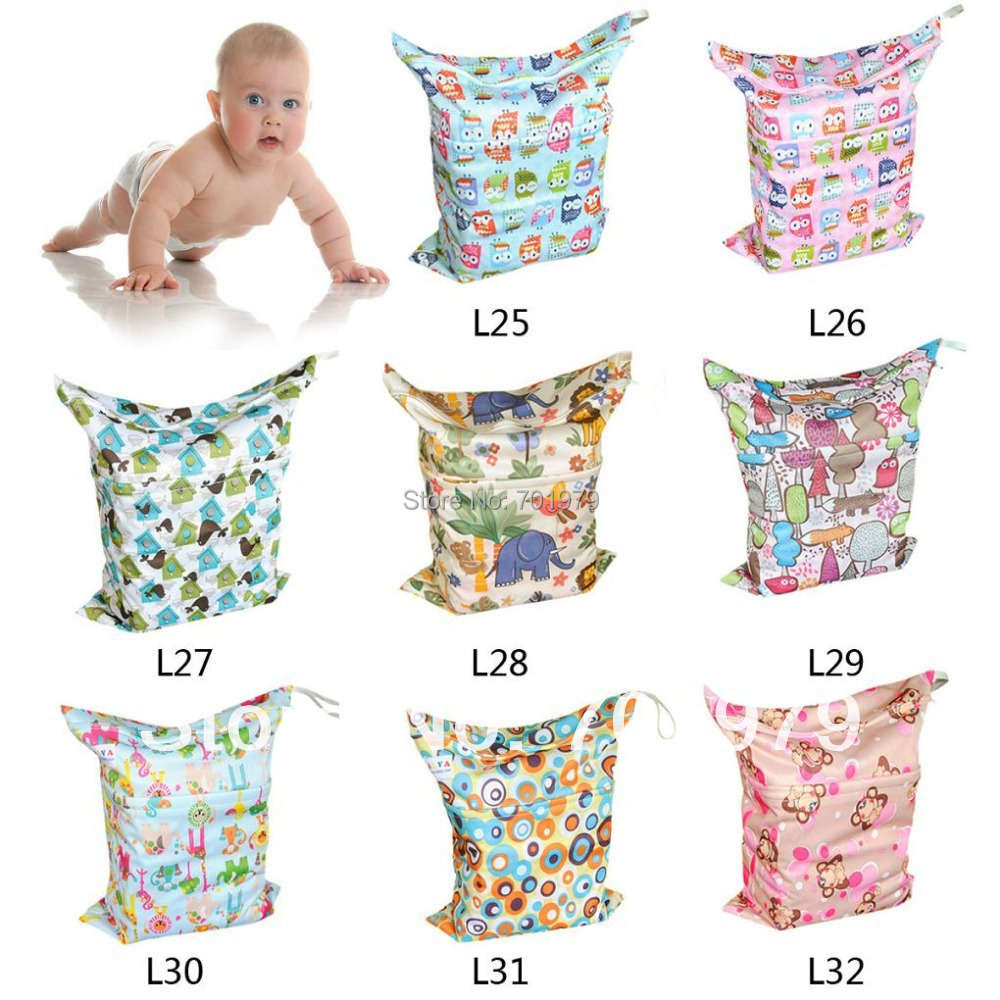 50 pieces lot Two pockets Two Zippers Elastic Handle Baby Reusable Nappy Bags