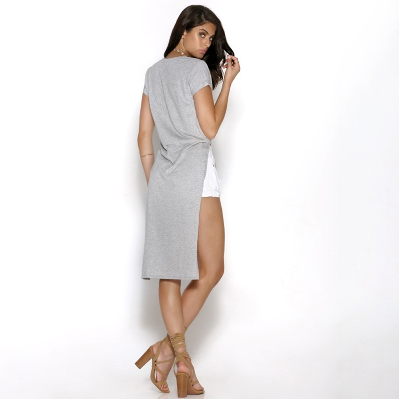 53c22306b12dbb Promotion! Women Side Split Shirt V Neck Long Back Short Front Tops Shirt  Tshort Sleeve Sexy Summer Maxi High Slit Shirts 810970-in T-Shirts from  Women's ...