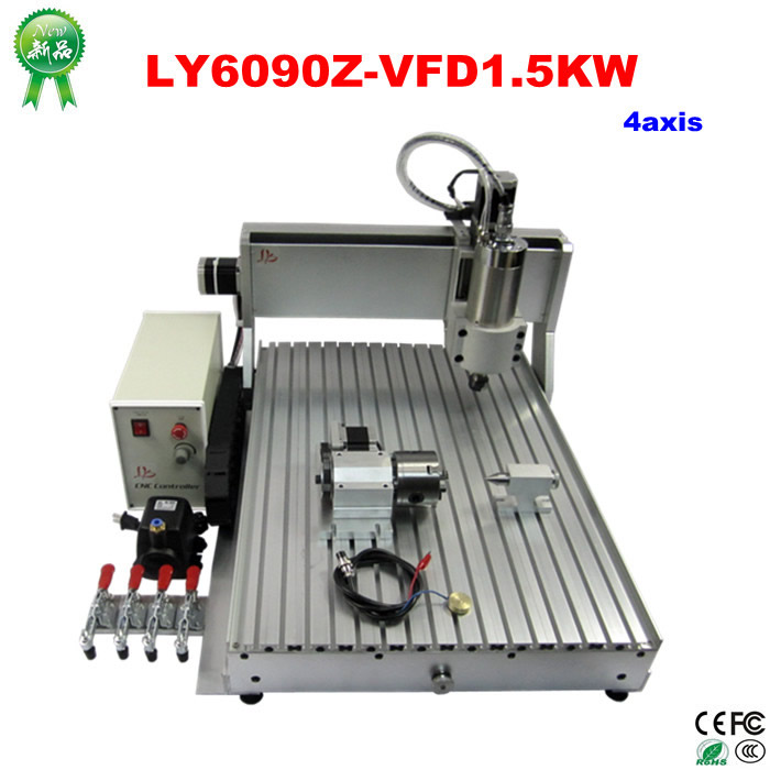 High quality 4 axis CNC router LY 6090Z-VFD1.5KW mini cnc milling machine with 1.5KW spindle mini cnc router rtm 6090 with t slot vacuum table