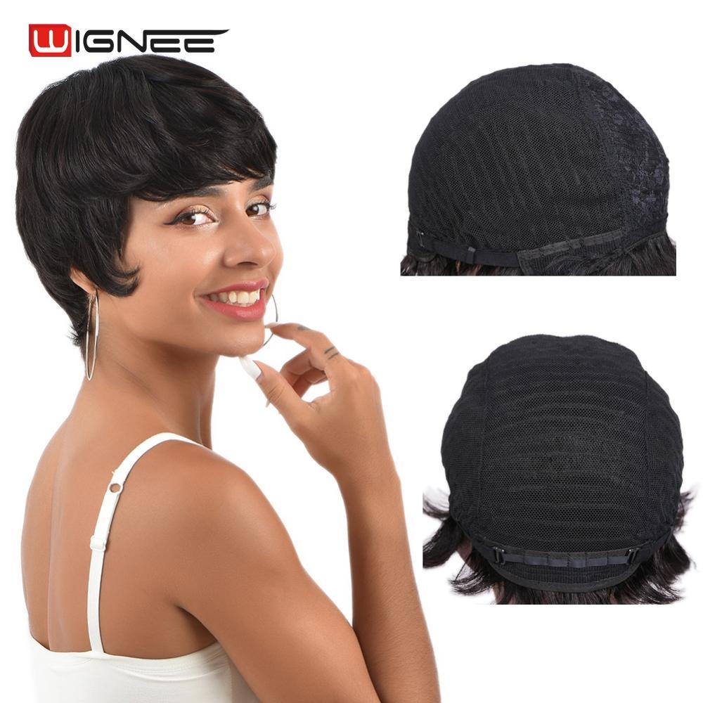 Wignee Short Human Hair Wigs For Women Bob Remy Brazilian 150% High Density Straight Natural Black Glueless Wig