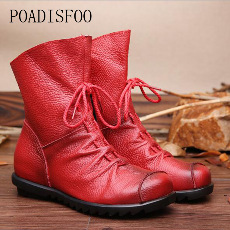 POADISFOO  Genuine Leather Hand made Women 2018 winter women Boots Western boots boots Round Toe Boots woman Shoes .ZXW-1806