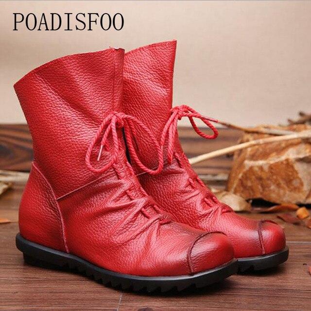 POADISFOO/женские зимние ботинки ручной работы из натуральной кожи; модель 2018 года; ботинки в западном стиле; ботинки с круглым носком; женская обувь. ZXW-1806