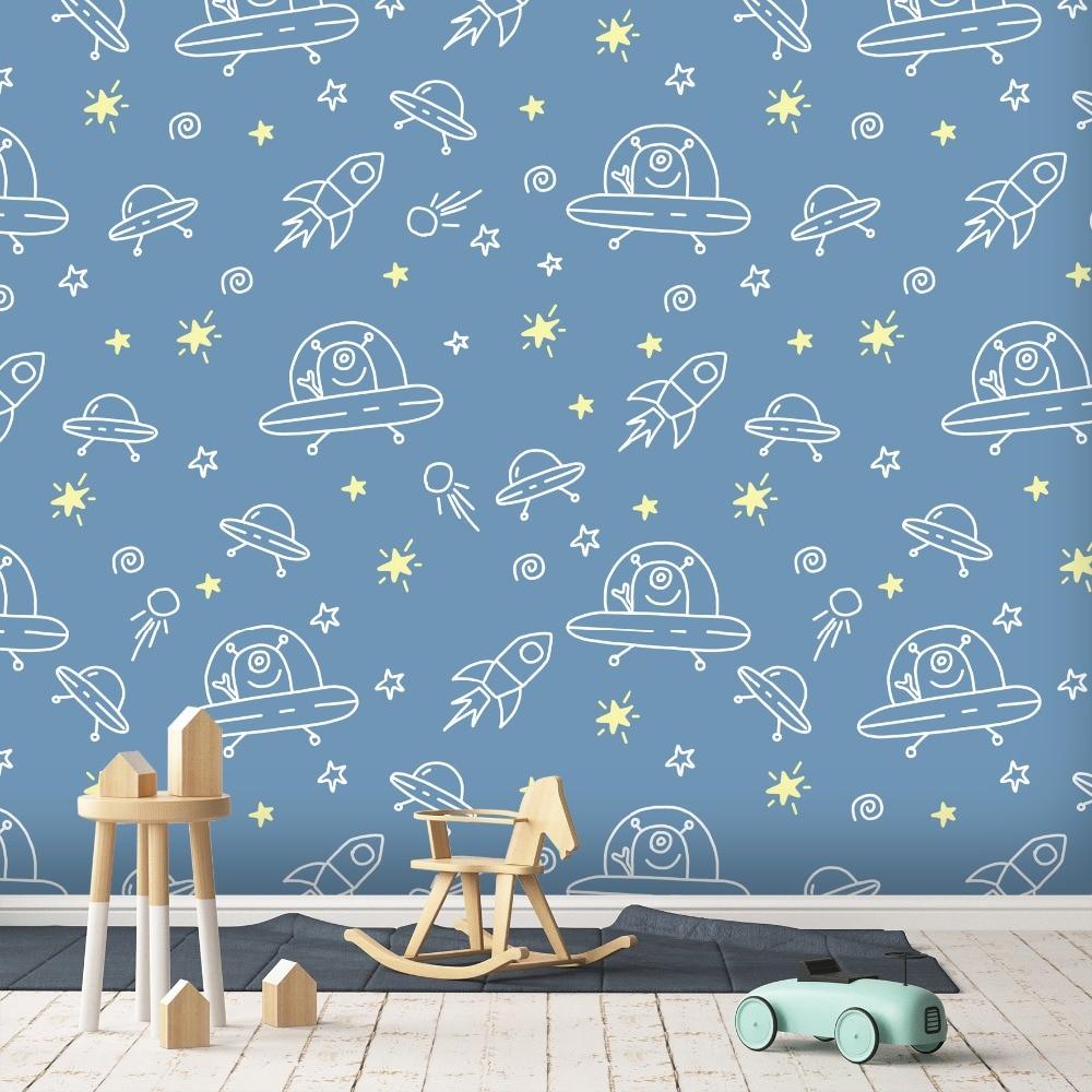 Malzubehör & Wandgestaltung Cp56 Angepasst Personalisierte Name Kindergarten Tapete Rakete Raumschiff Äußere Raum Kunst Vinyl Wand Aufkleber Kinder Heimwerker