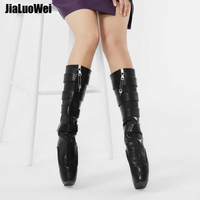 Jialuowei Fetiş Bale Botları Kadınlar 18 cm Süper Yüksek Topuk Seksi Kama Tırnak Heelless platform ayakkabılar Kilitlenebilir Diz Yüksek Köle Botları