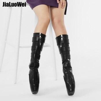 jialuowei Fetish Ballet Boots Women 18cm Super High Heel Sexy Wedge Hoof Heelless Platform Shoes Lockable Knee High Slave Boots sorbern white platform shoes knee high boots for women wedge high heel ladies shoes booties womens shoes custom colors big size