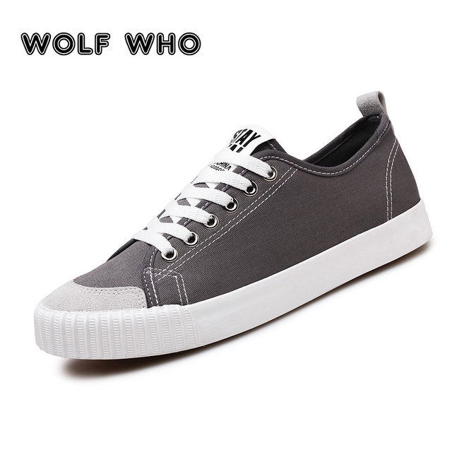 WOLF WHO New Gray Sneakers Men canvas Lace up Casual shoes Male Breathable Espadrilles Man Plimsolls buty meskie krasovki X 065