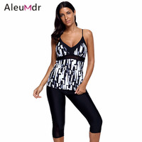 Aleumdr Plus Size Swimwear Women Print Tankini Top And Sport Pants Fitness Two Piece Swim Suit Maillot De Bain Femmes LC410441