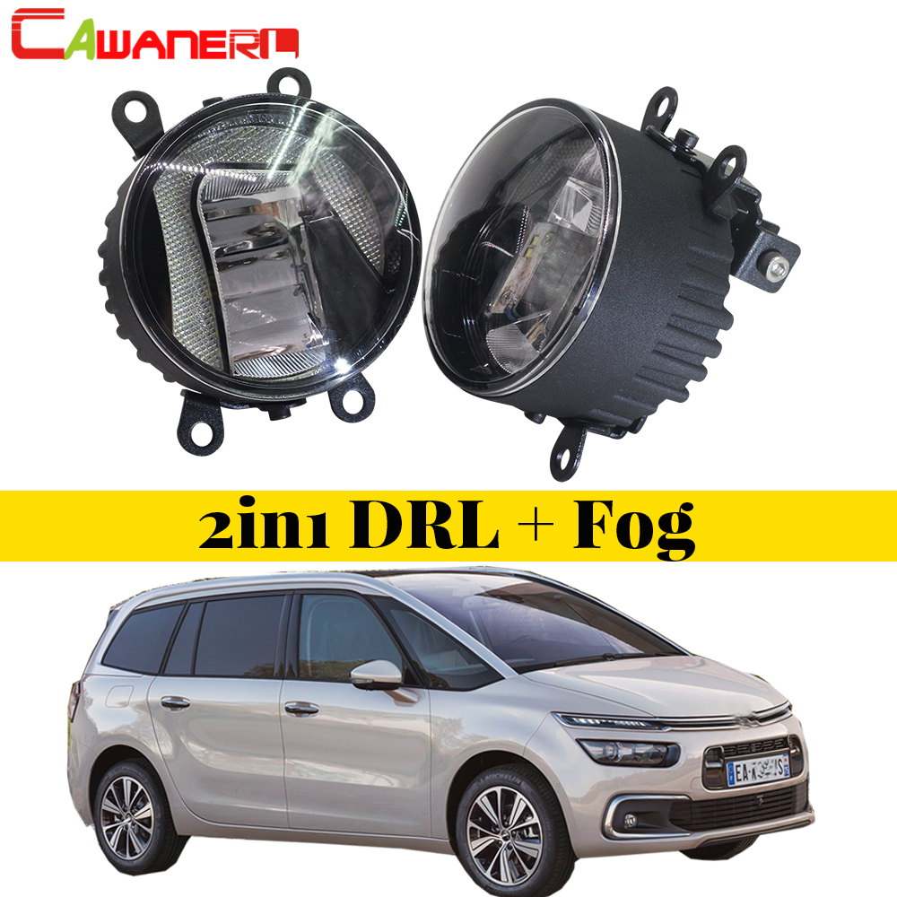 Cawanerl For Citroen C4 2004-2013 Car Styling LED Bulb Fog Light DRL Daytime Running Lamp White 12V High Bright