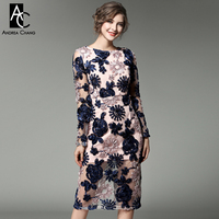 spring autumn runway designer womans dresses black pink knee length dress blue white 3d flower applique high quality party dress