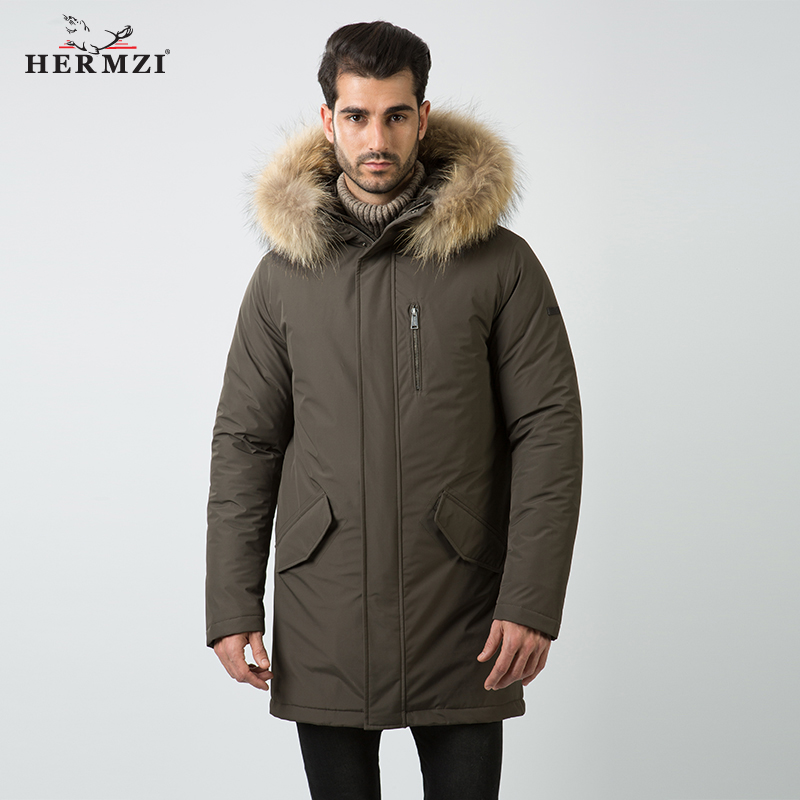 HERMZI 2019 Men Winter Parka Alaska Long Coat Cotton Padded Coat Mens Fur Parka Raccoon Fur Parka Homme Thick Winter Long Jacket