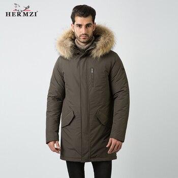 HERMZI 2020 Men Winter Parka Alaska Long Coat Cotton Padded Coat Mens Fur Parka Raccoon Fur Parka Homme Thick Winter Long Jacket цена 2017