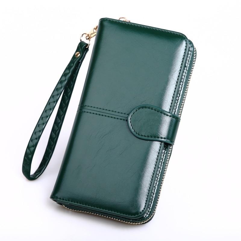 Long Coin Purse Women Wallet Dark Green Leather Womens Wallets Purses Lady Big Wallet Female Clutch
