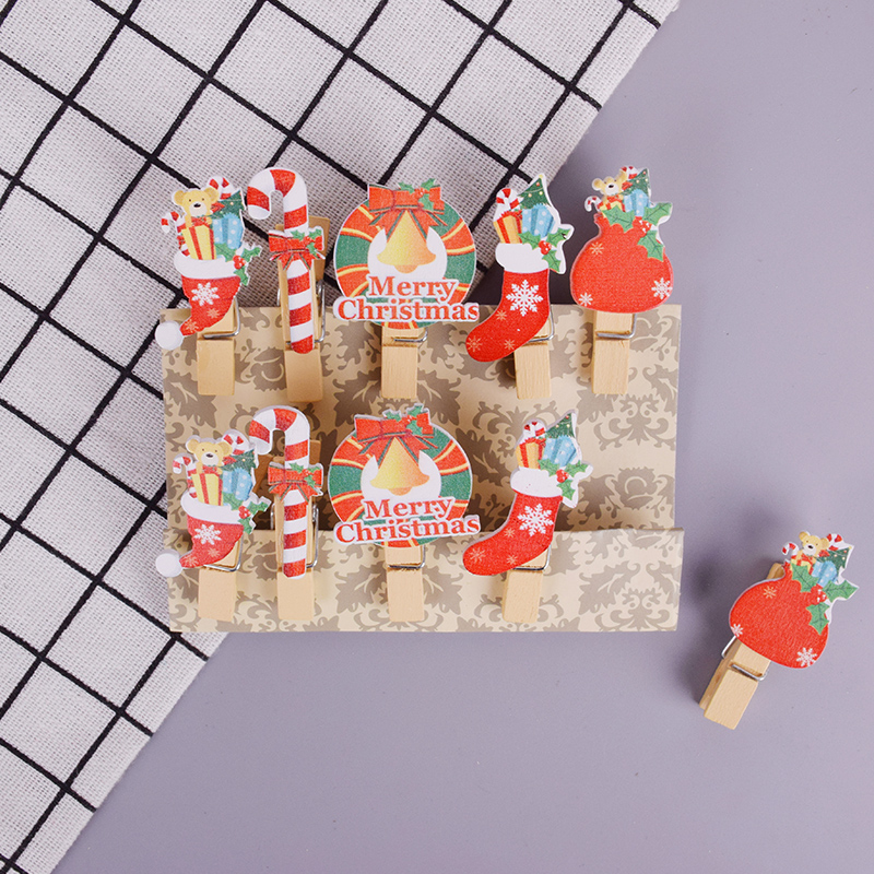 10 Pcs/lot Christmas Stocking Photo Clips Wooden Clip DIY Photo Wall Decoration Clip Craft Pegs With Hemp Rope