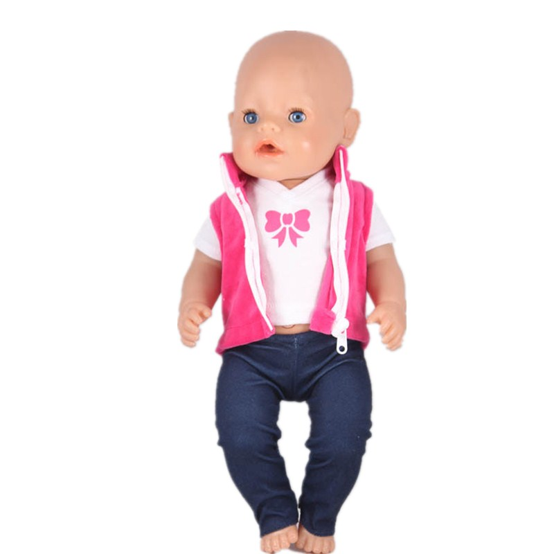 September Fashion Styles 43cm Doll Baby Born Doll Clothes Red Zipper Vest White tshirt and Pants