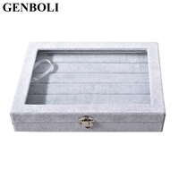 GENBOLI Portable Grey Velvet Glass Ring Necklace Jewelry Box 100 Rings Necklaces Display Show Case Holder