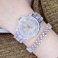 Señoras de La Manera Mujeres Del Reloj de Cuarzo Rhinestone de Cuero Casual Vestido Reloj de Oro Rosa de Cristal de Las Mujeres reloje mujer 2016 montre femme