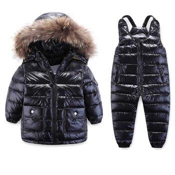3-8Y Winter Children Boys Girls White Duck Down Waterproof Suit Kids Down Jacket + Pants 2Pcs Ski Snowsuit  Enfant Parka Coat