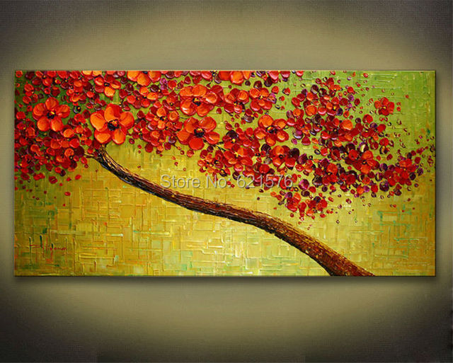 Hand painted modern home decor abstract green red cherry blossom ...