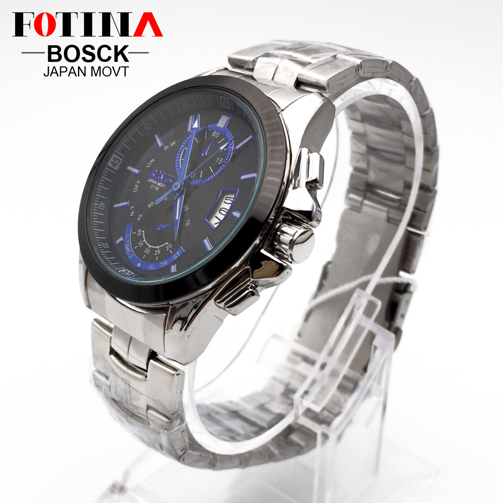 FOTINA Top Brand BOSCK Casual Business Watch Men Stainless Steel Water Resistant Quartz Clock Auto Day Date Watches Montre Homme 2