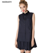 Haoduoyi 2017 Fashion New Sweet Campus Style Solid Shirt  Dresses Women POLO Collar sleeveless Casual Cotton Summer Dress