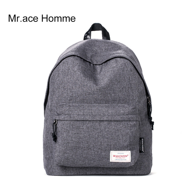 Mr Ace Homme font b Women b font College Polyester Fabric Student School font b Backpack