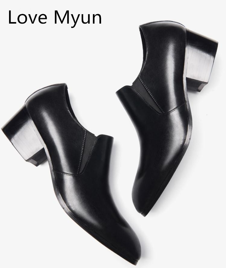 Genuine leather men shoes high heels pointed toe slip on height increase men s dress shoes