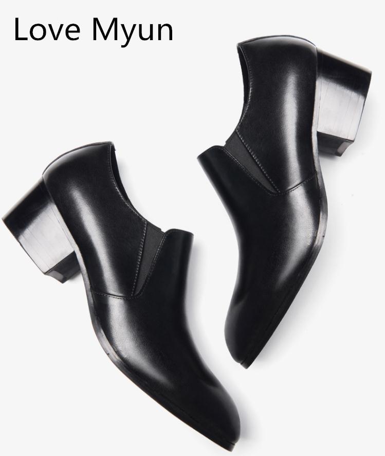 جلد طبيعي الرجال أحذية عالية الكعوب المدببة تو الانزلاق على ارتفاع زيادة الرجال اللباس أحذية الزفاف أحذية الرجال الرقص حزب أحذية-في أحذية رسمية من أحذية على  مجموعة 1