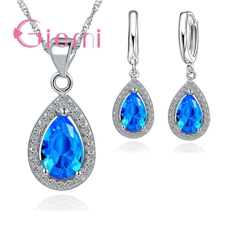 Luxury Real 925 Sterling Silver Jewelry Set Water Drop Cubic Zirconia CZ Stone Wedding Party Hoop Earrings Pendant Necklaces