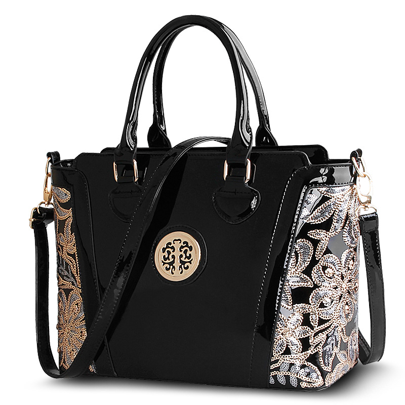 все цены на 2016 Shoulder Bags Crossbody Brand New Fashion Patent Leather Women Handbag Messager Elegant Luxury Ladies Black Tote Famous онлайн