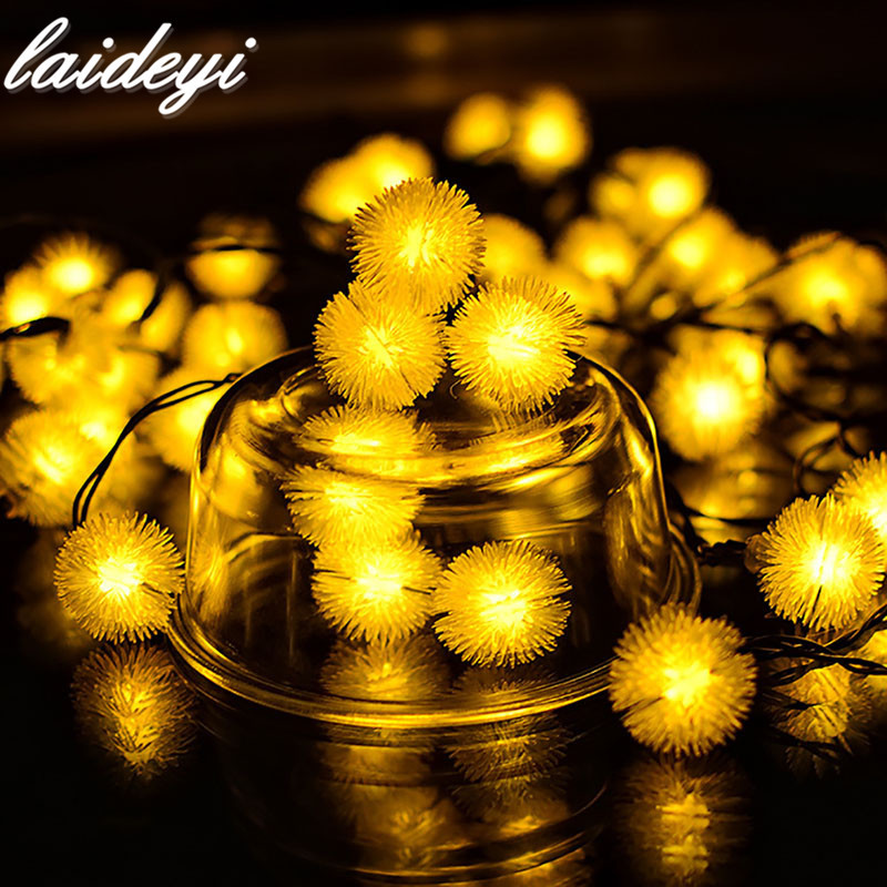 laideyi 20 led solar light led string lights fairy lights christmas tree snowball wedding decoration for outdoor garden in solar lamps from lights - Solar Light Christmas Decorations