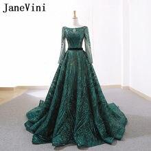 JaneVini Arabic Long Sleeve Evening Gown Fashion Sequin Evening Dress Women  Dubai Luxury Long Dresses for Prom Party Lange Jurk ec65fc2ab969