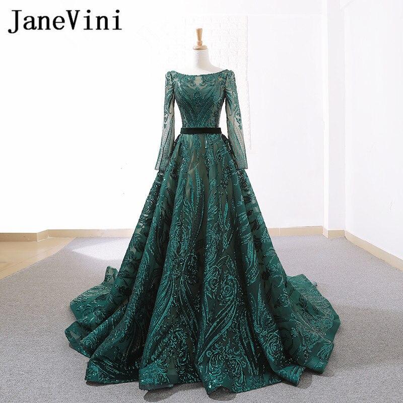 JaneVini arabe à manches longues robe de soirée mode Sequin robe de soirée femmes Dubai luxe longues robes pour la fête de bal Lange Jurk
