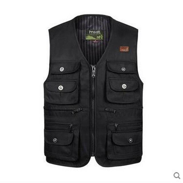 New Arrival Male Vest Outdoors Casual Multi Pocket Quinquagenarian Cotton Mesh Vest Waistcoat Photography Waistcoat   A2827