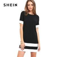 SHEIN 여성 컬러 블록 캐주얼 미니 드레스 새로운 여름 스타일 블랙 화이트 패치 워크 크루 넥 짧은 소매 시프트 드레
