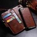 Novo 2 em 1 capa de couro da aleta de luxo para apple iphone 7 7 plus case em i7 6 6 s 6 mais fundas de cera de petróleo carteira removível slots de cartão