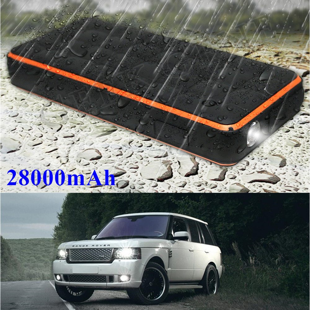 Super Waterproof Car Jump Starter 28000mAh Starting Device Power Bank 12V 1000A Peak Car Charger For Car Battery Booster Buster