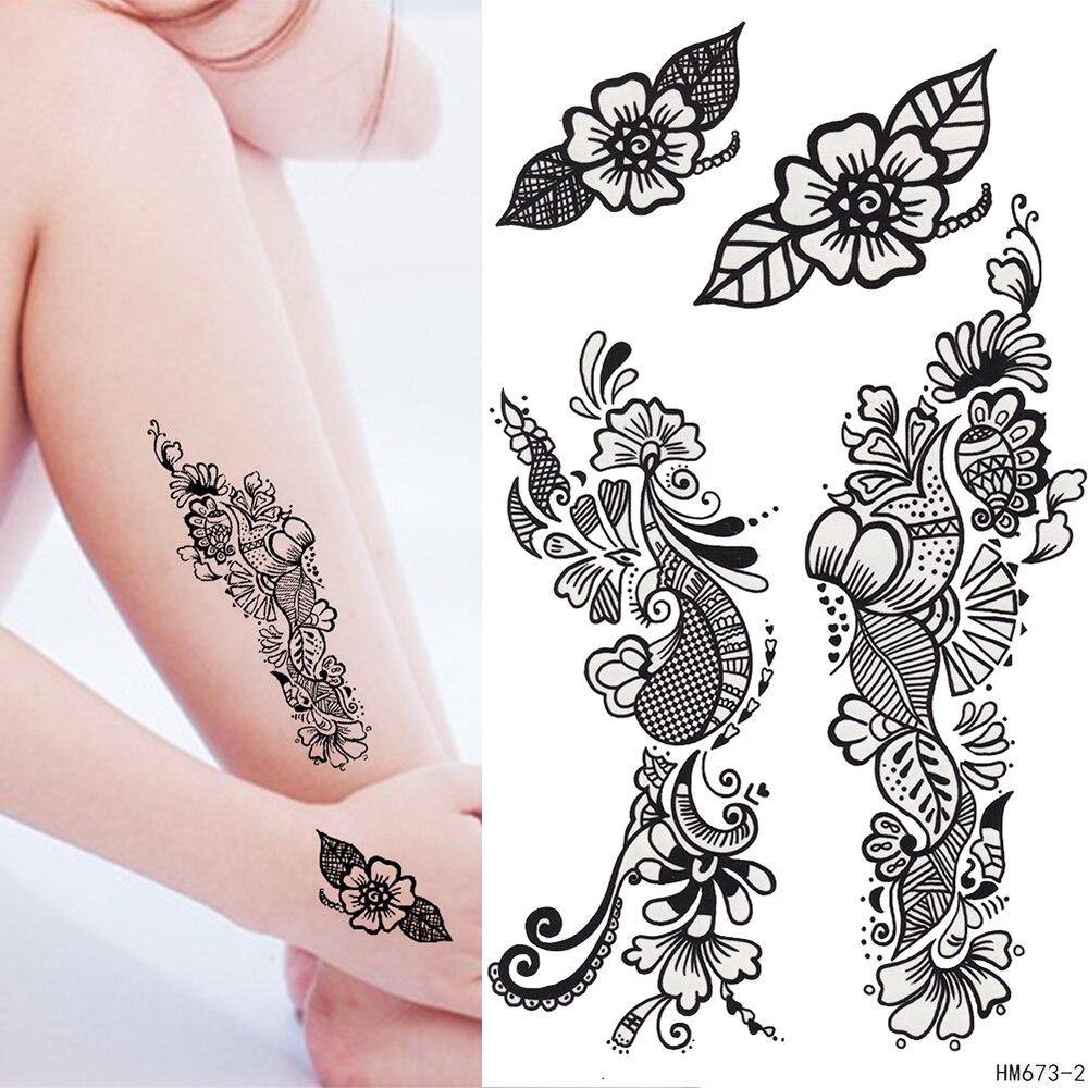 Temporary Black Henna Tattoo: King Horse Black Henna Tattoo Flowers Fake Tatoo