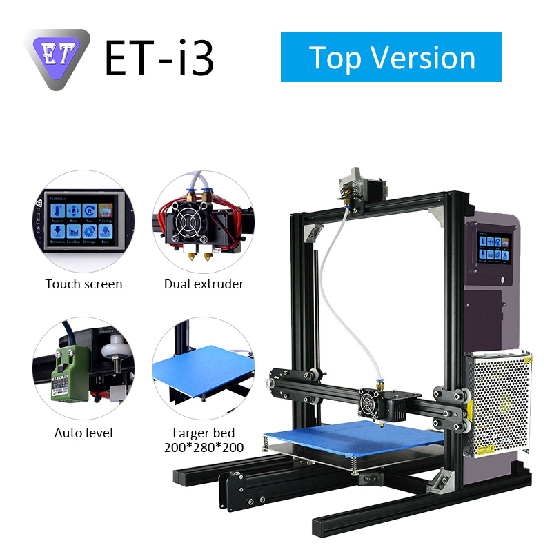 ET i3 3D Printer DIY Kits with Double Extruder MK7 MK8 MK10 Extruder Auto Level Large Size Compatible Ramps 1.4 board