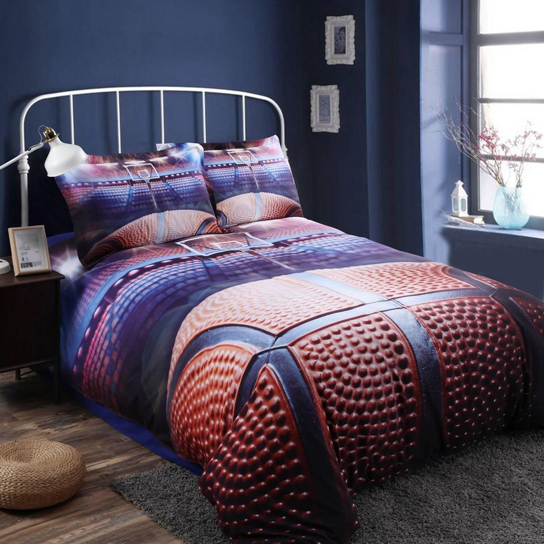 3D Basketball Bedding Set for Teen Boys Polyester Cover Set,(No Duvet&Comforter inside)
