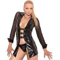 Sexy Women Black Faux Leather Babydoll Erotic Fetish See Through PVC Latex Vinyl Nightclub Lingerie with Buckles Nightwear M XL