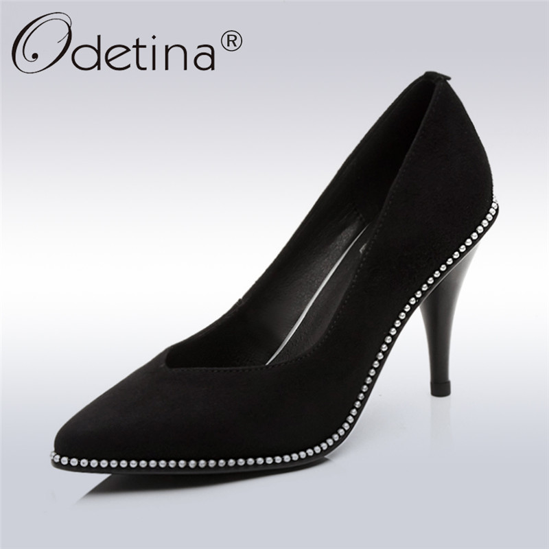 Odetina 2018 New Fashion Women Genuine Leather Pumps Pointed Toe Slip On Party Shoes Ladies Pearl Stiletto High Heels Pumps new arrival genuine leather pointed toe high heels stiletto shallow metal buckle pumps slip on women brand wedding shoes l8f3