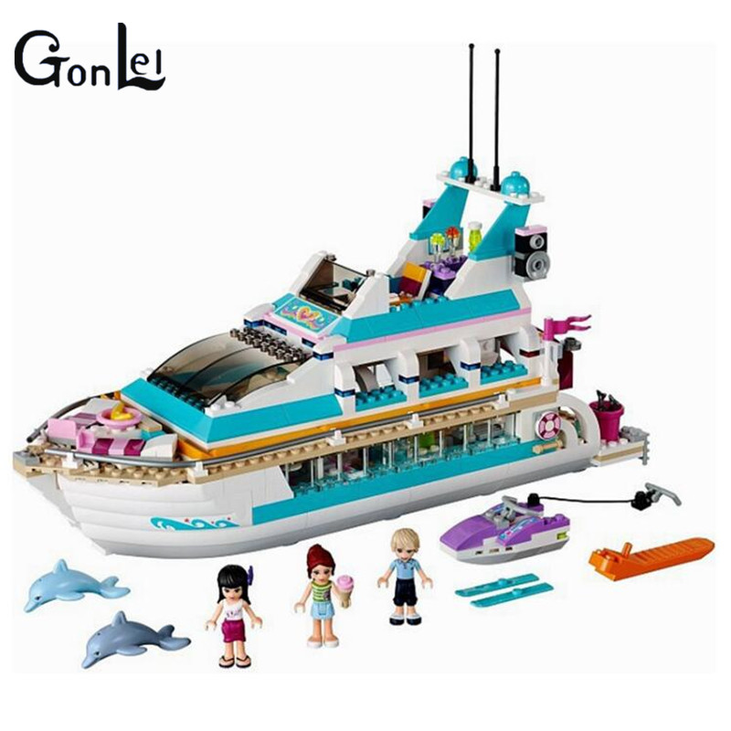 (GonLeI) 01044 661pcs City Girl Friends Dolphin Cruiser Yacht Building Block Compatible 41015 Brick Toy kids floral print oped back cami romper