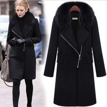 Европа женщины шерстяное пальто мода склонны молния шерстяная ткань пальто тяжелые волосы воротник теплое черное пальто Большой размер l-4xl Q306