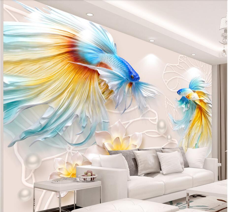 Custom photo mural 3d wallpaper cloth Embossed goldfish lotus jewelry TV background wall 3d wall murals wallpaper for wall 3 d 3d wallpaper custom mural non woven 3d room wallpaper tv setting wall crane brick wall murals photo wallpaper for walls 3 d