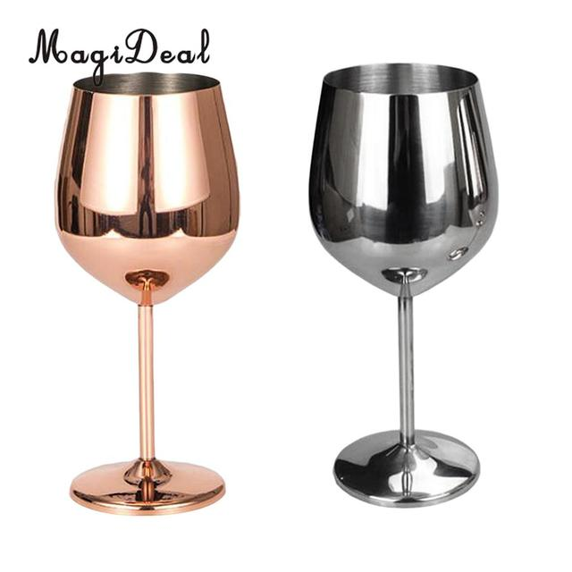 Magideal Stainless Steel Wine Gles Red White Goblets Champagne Bar Rose Gold Silver