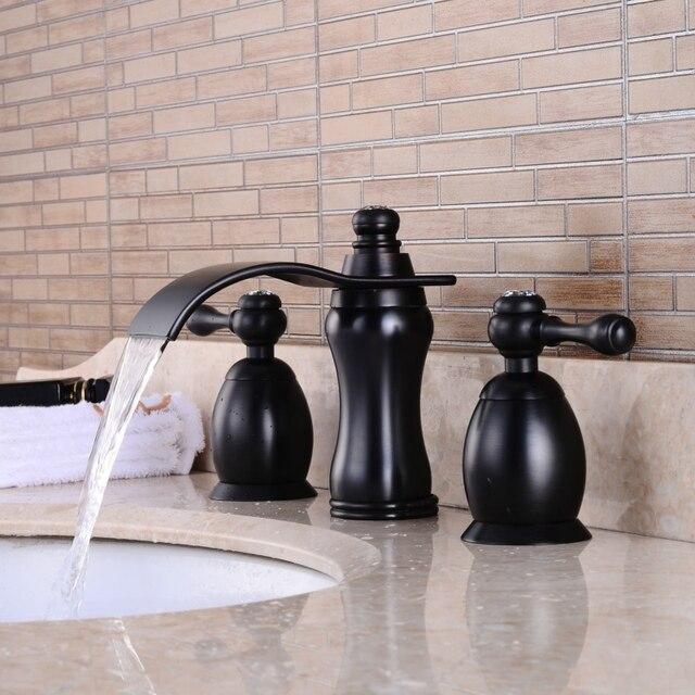 Livraison gratuite Huilé Noir Antique robinet cascade double
